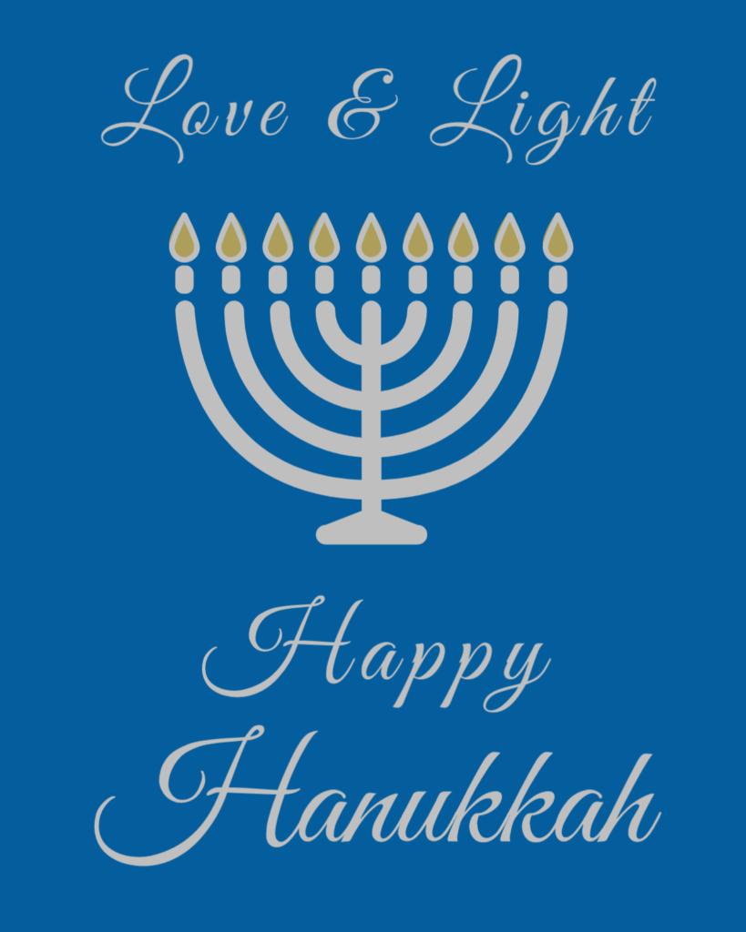 Love and Light, Happy Hanukkah Wine Label